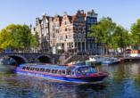 Hotel the niu Fender in Amsterdam, Niederlande, Grachtenfahrt