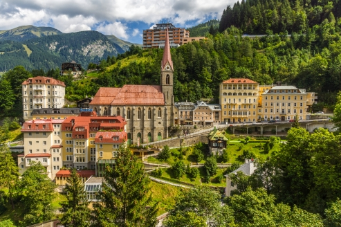Hotel Alpenblick, Bad Gastein, Österreich, Blick auf Bad Gastein
