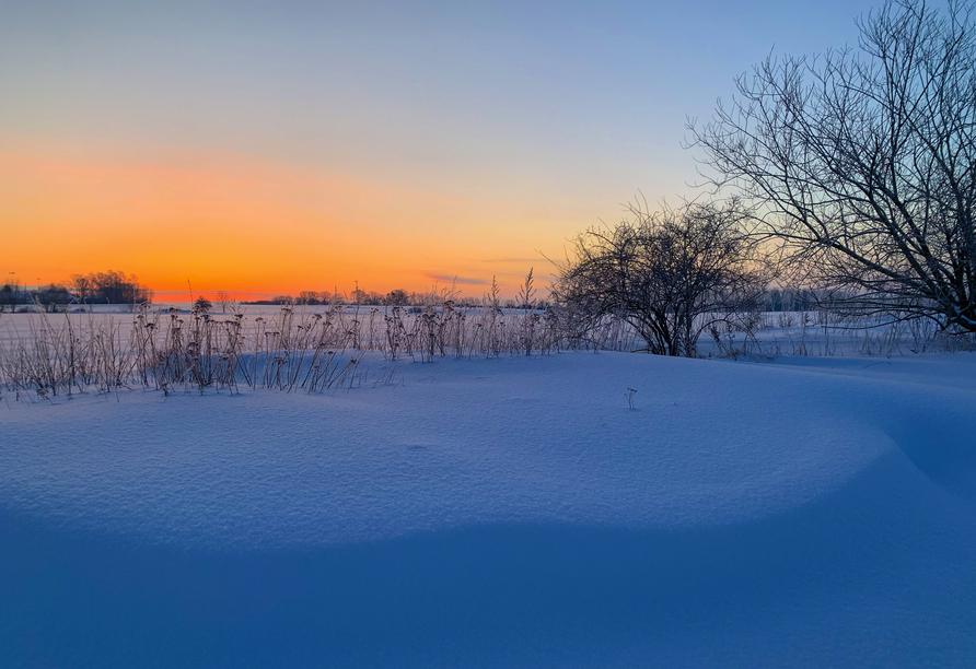 Auf gehts zu einem Spaziergang durch den Schnee im Osnabrücker Land.