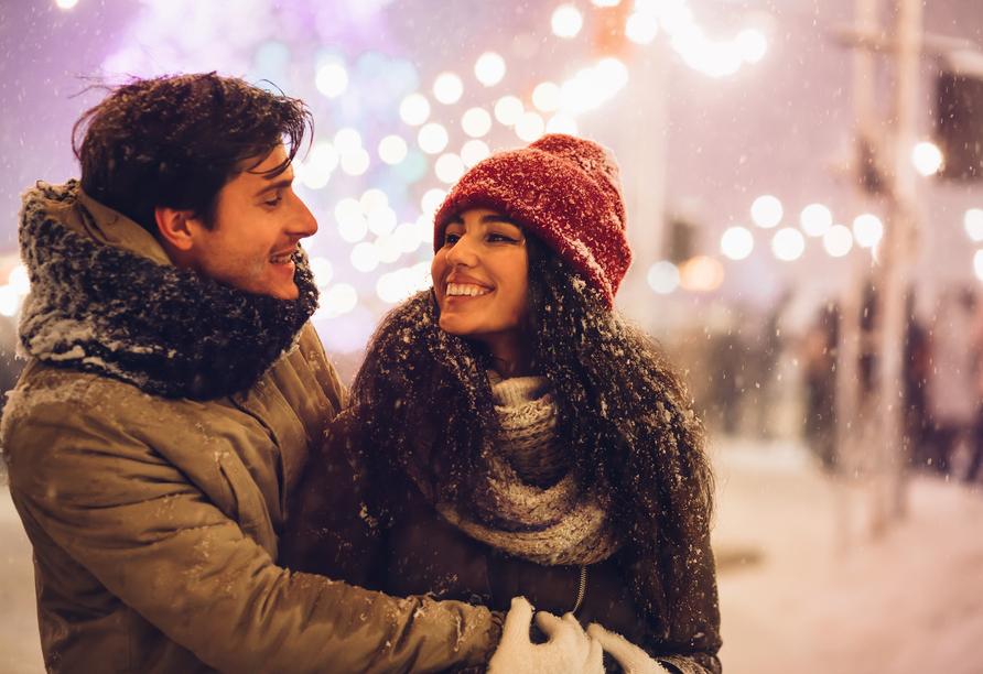 Hotel am Rossplan in Altenburg, Paar im Schnee