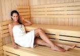 In der Sauna können Sie zur Ruhe kommen.