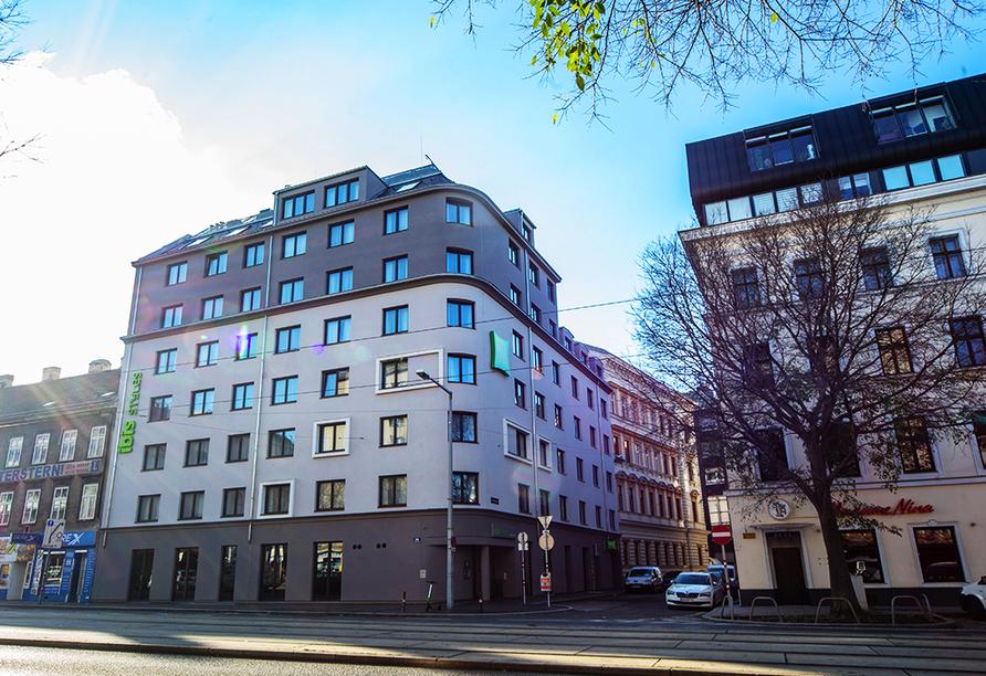 Das Hotel ibis Styles Wien Messe Prater liegt zentrumsnah im Stadtteil Leopoldstadt.