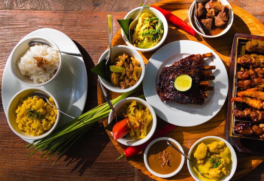 Die balinesische Küche hält köstliche Spezialitäten für Sie bereit.