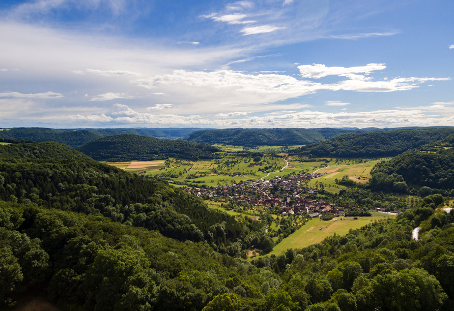 Luftaufnahme im Oberen Filstal der Schwäbischen Alb