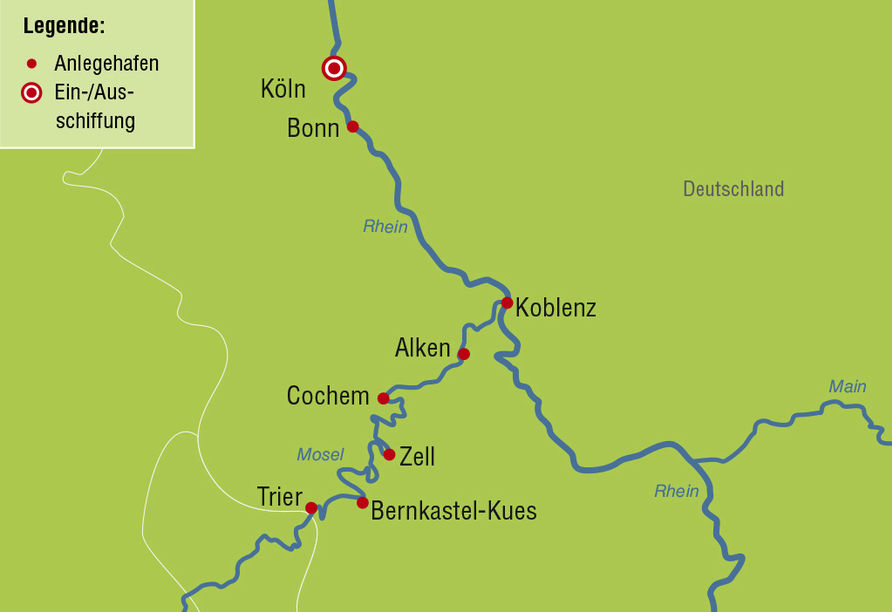 MS Switzerland, Reiseroute Rheinromantik & Moselzauber