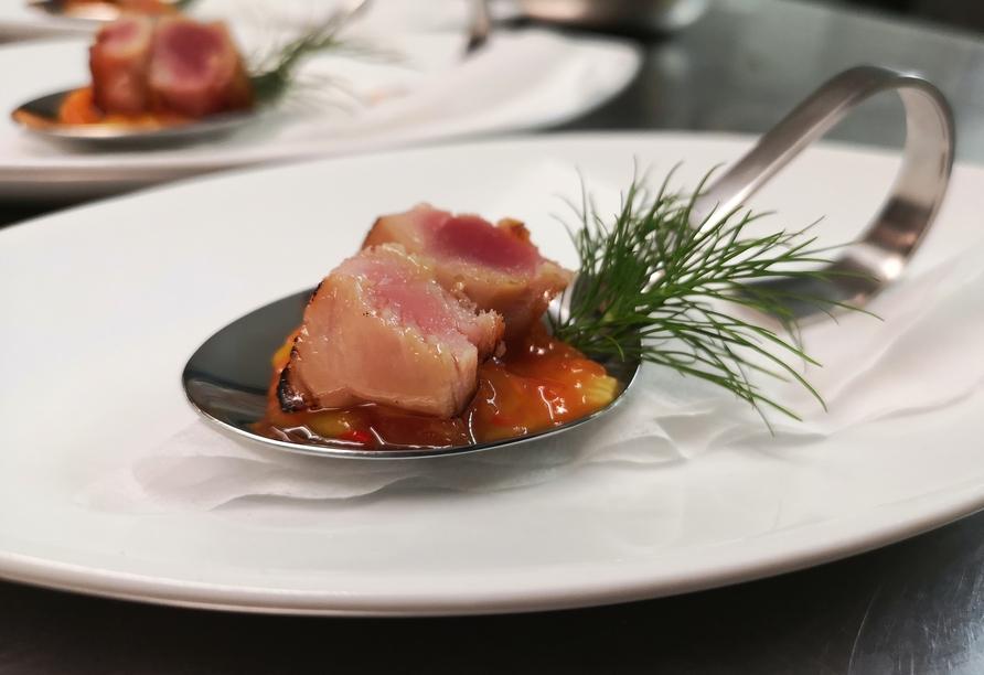 Im SeeGourmet Restaurant des Hotels DreiKönig werden Sie kulinarisch verwöhnt.