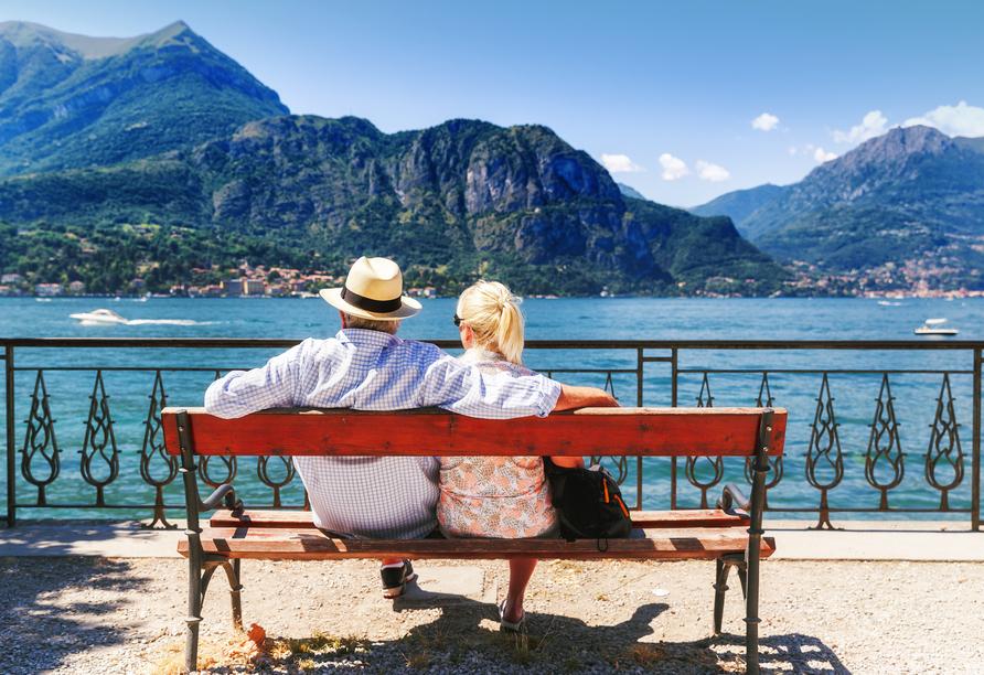 8-tägige Autorundreise Alpenrundfahrt Schweiz  -Italien - Frankreich, Ausblick Comer See