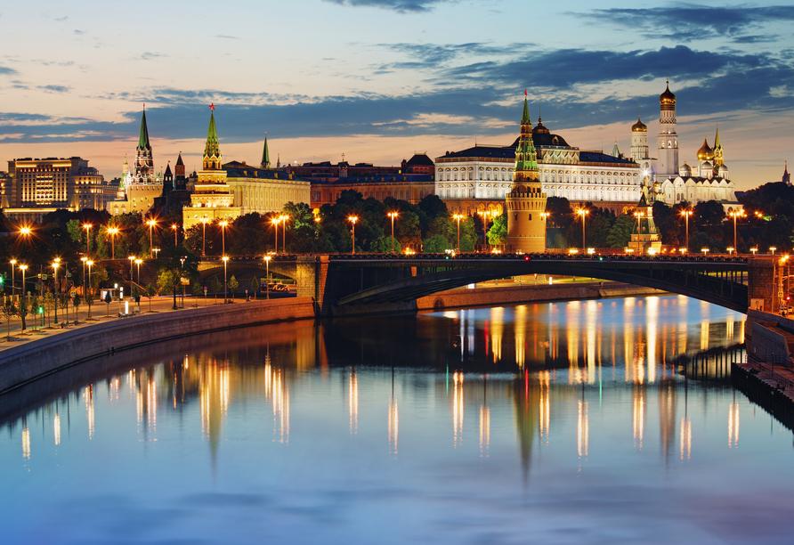 MS Wolga Star, Moskau bei Nacht