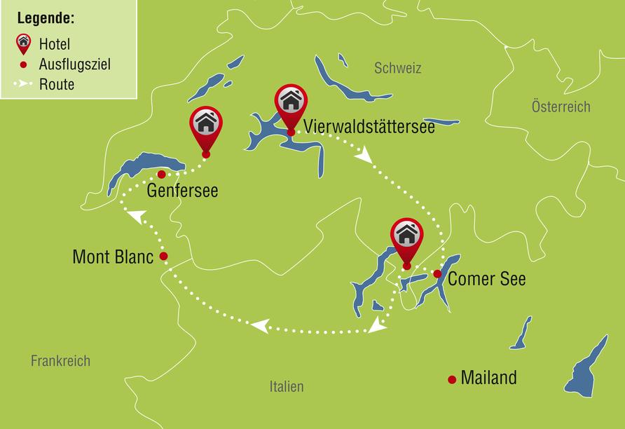 8-tägige Autorundreise Alpenrundfahrt Schweiz  -Italien - Frankreich, Reiseroute