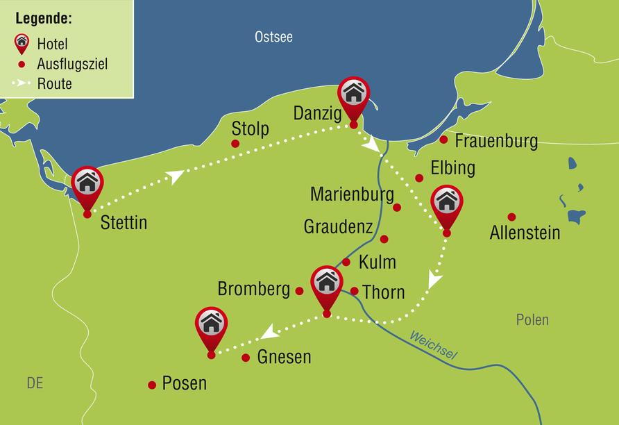 8-tägige Autorundreise Höhepunkte Masuren & Pommern 2021, Reiseroute