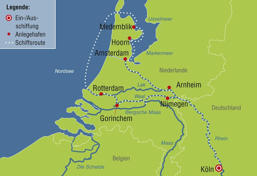MS Annika oder MS Anna Katharina ab/an Köln, Reiseroute