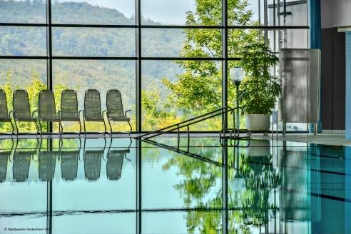 Das Hotel ist über einen Bademantelgang direkt mit dem HellensteinBad aquarena verbunden.