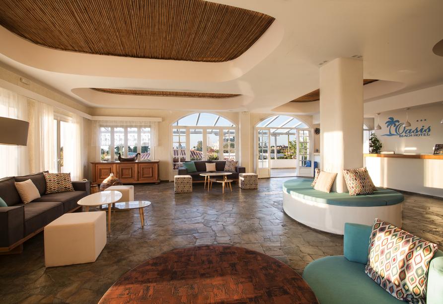 Oasis Beach Hotel in Anissaras, Rezeption