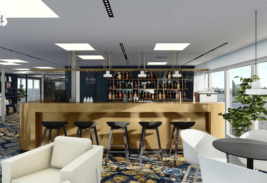 Modellbild der Bar an Bord von MS Albertina