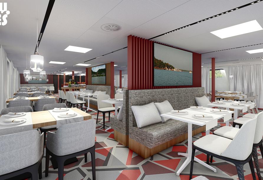 Modellbild des Restaurants an Bord von MS Albertina