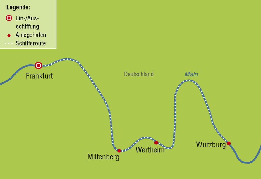 MS VIVA INSPIRE ab/an Frankfurt, Reiseroute