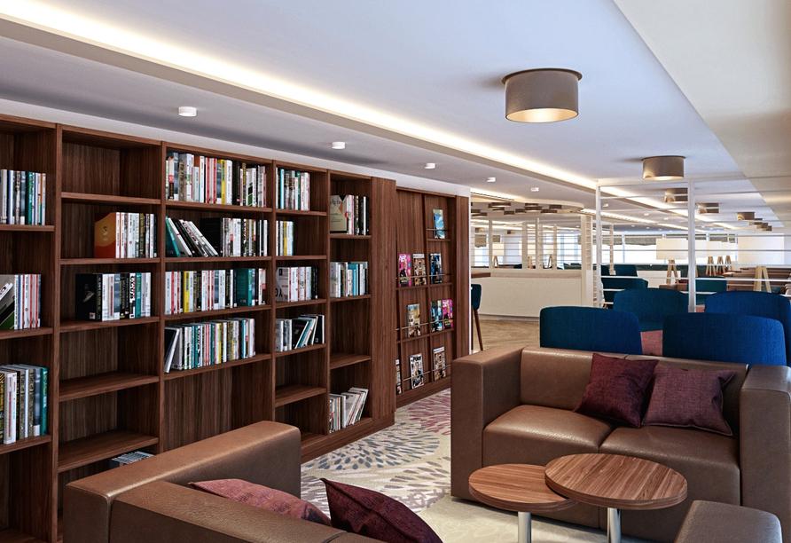 MS Asara ab/an Frankfurt am Main, Bibliothek Schiff
