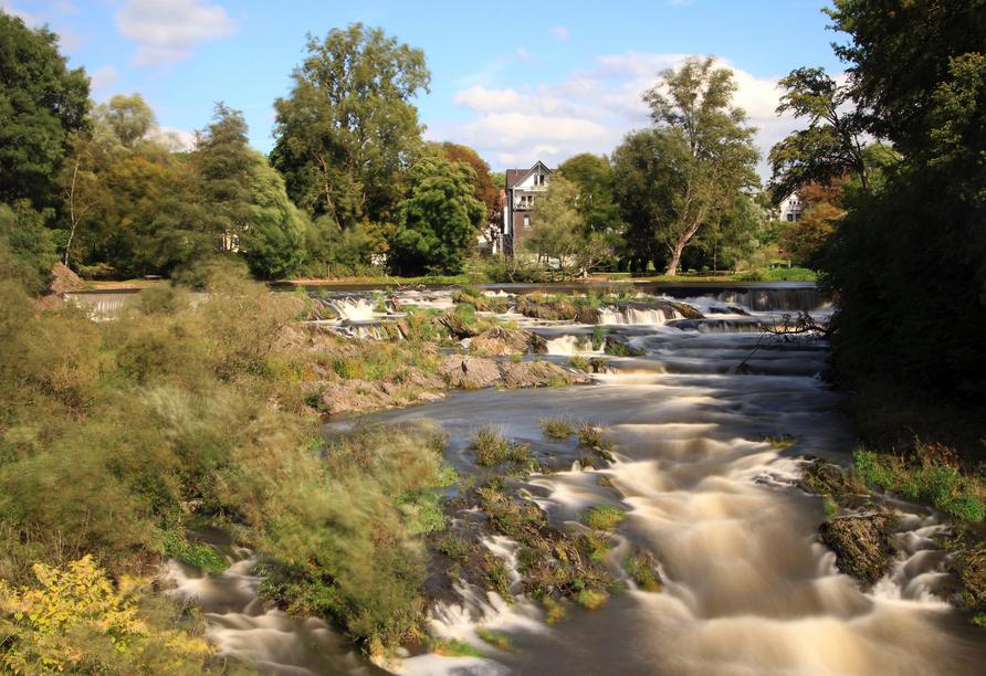 Der größte Wasserfall Nordrhein-Westfalens: Der Siegwasserfall ist 84 m breit und ca. 6 m tief.