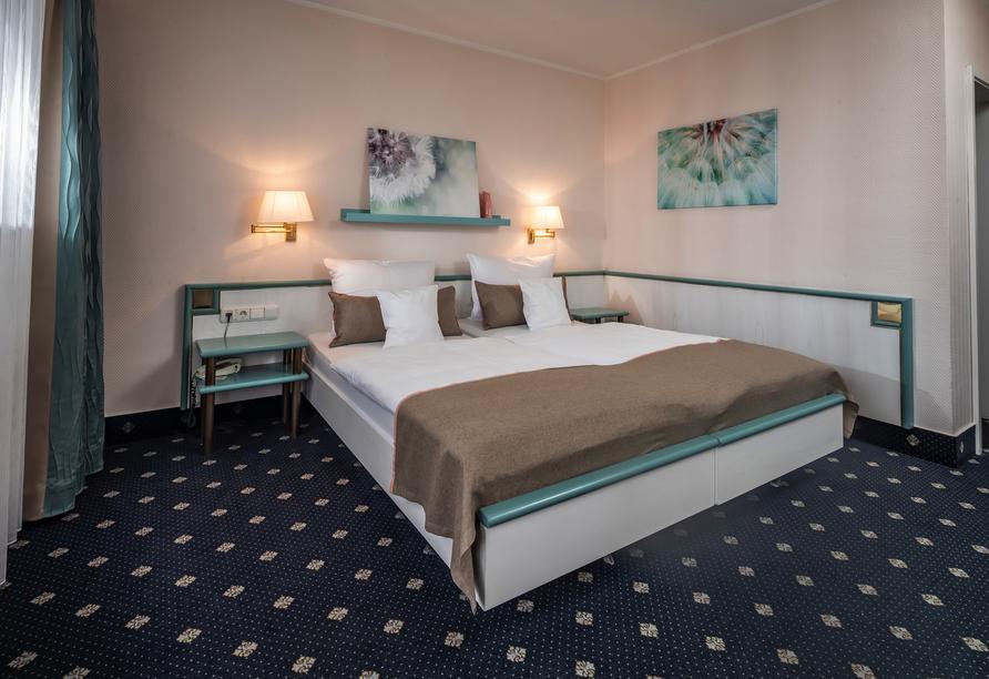 Beispiel eines Doppelzimmers im Haupthaus des Panorama Hotels Heimbuchenthal