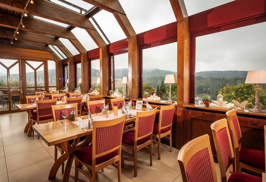 Genießen Sie einen herrlcihen Ausblick vom Restaurant.