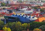 2003 entstand das Kunsthaus – in dem Jahr wurde Graz der Titel Kulturhauptstadt verliehen.
