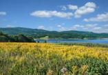 Auf Ihrem Weg zum Riesengebirge entdecken Sie den See bei Jelenia Gora.