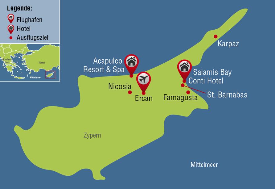 Der Norden Zyperns und seine unberührte Natur, Reisezielkarte