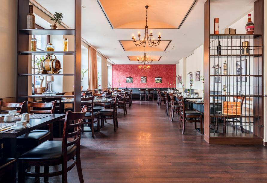 Lassen Sie sich im Restaurant vom AZIMUT Hotel Dresden kulinarisch verwöhnen mit selbstgemachter Pasta, leckerer Pizza aus dem Steinofen oder frischen Salaten.