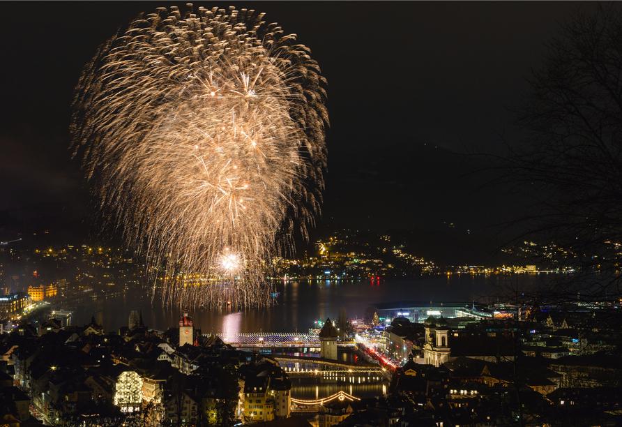 Hotel Bellevue in Seelisberg, Vierwaldstättersee, Feuerwerk