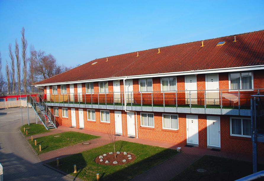 Außenansicht der Zimmer im Casilino Hotel Rostocker Tor