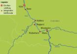 Ihre Reiseroute auf dem Rhein: von Köln nach Mainz/Wiesbaden und zurück