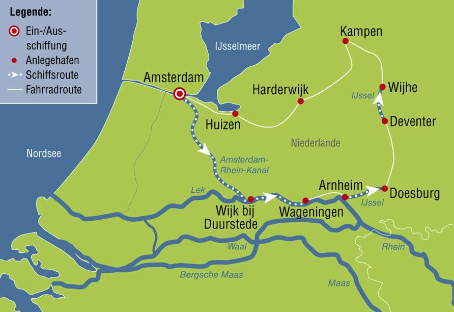 De Holland, Reiseroute