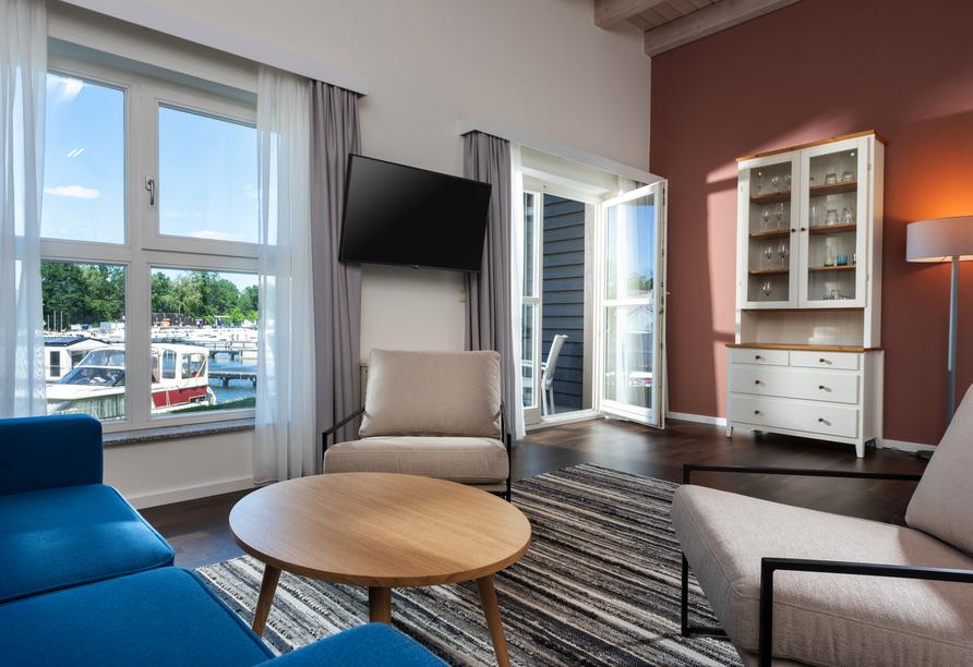 Precise Resort Marina Wolfsbruch, Beispiel Wohnbereich Appartement Ferienhaus
