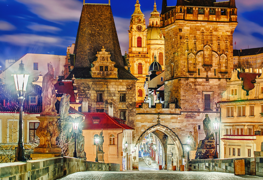 Art Nouveau Palace Hotel, Prag bei Nacht