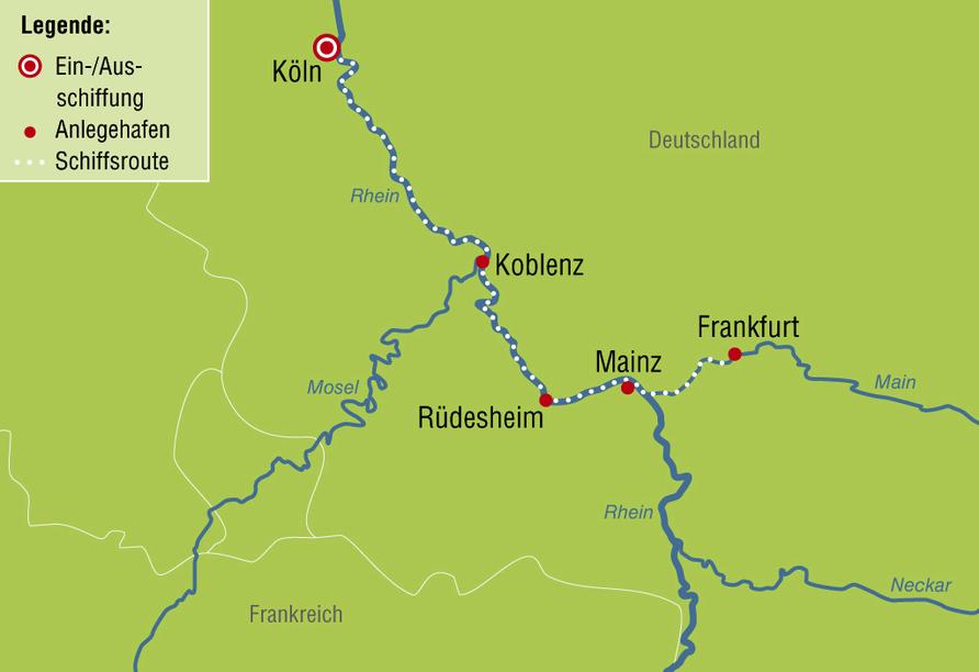 Ihre Reiseroute auf dem Rhein und Main: von Köln nach Frankfurt und zurück