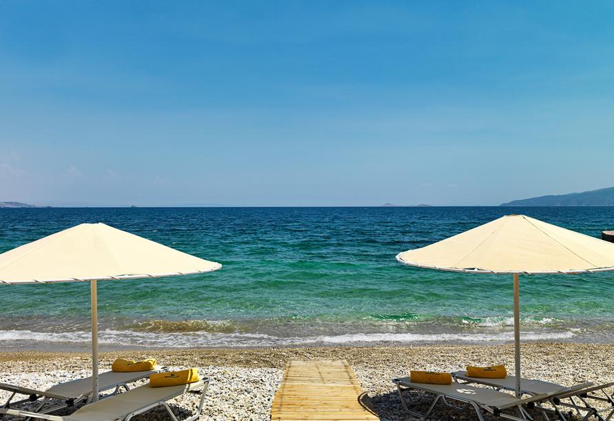 Ihren freien Tag können Sie ganz entspannt am Strand verbringen.