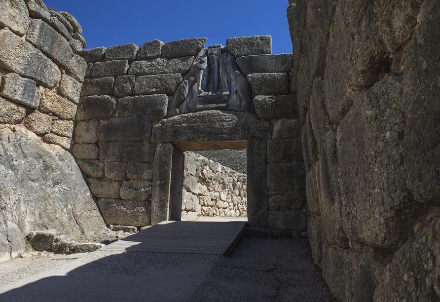 Das eindrucksvolle Löwentor befindet sich in Mykene.