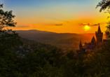 Das Schloss Wernigerode bietet einen malerischen Ausblick auf die Stadt.