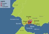 Andalusien und seine Schätze, Reisezielkarte
