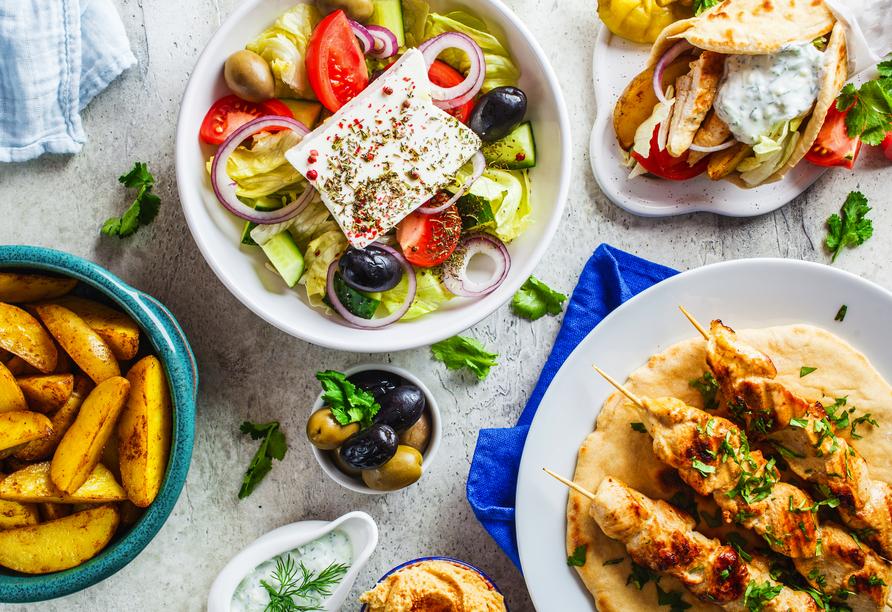 Blaue Reise rund um die Ionischen Inseln, griechisches Essen