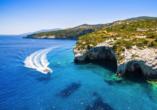 Blaue Reise rund um die Ionischen Inseln, Blue Caves, Agios Nikolaos