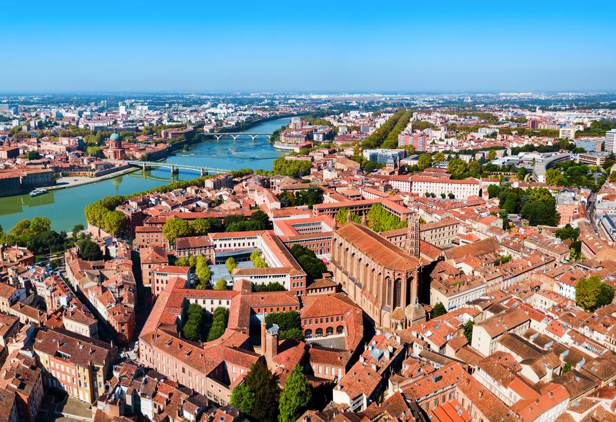 Die rosa Stadt Toulouse begrüßt Sie zu einem Ausflug.