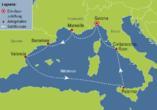 Costa Toscana, Reiseroute