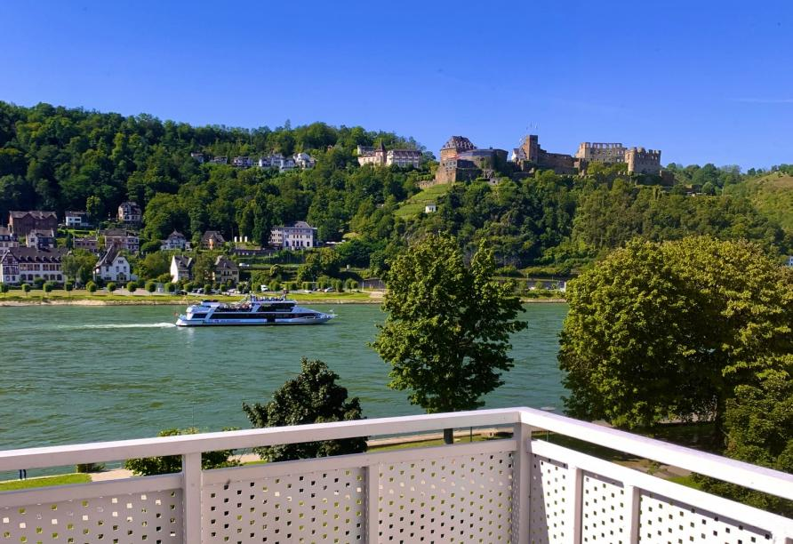 Rheinsteig, Sternwanderreise, Hotel Restaurant Colonius, St. Goarshausen, Balkonblick