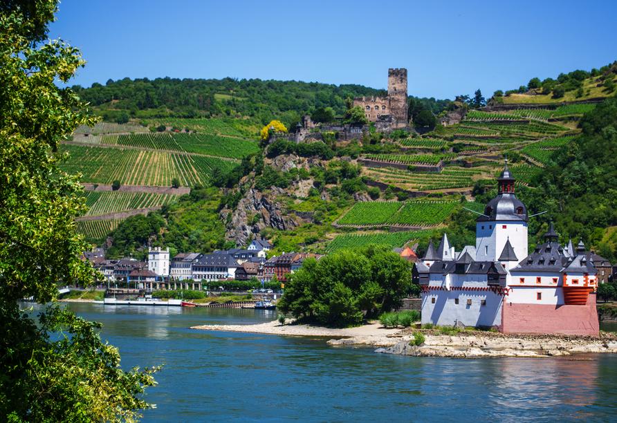 Rheinsteig, Sternwanderreise, Hotel Restaurant Colonius, St. Goarshausen, Burg Pfalzgrafenstein
