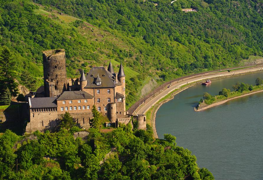 Rheinsteig, Sternwanderreise, Hotel Restaurant Colonius, St. Goarshausen,Burg Katz