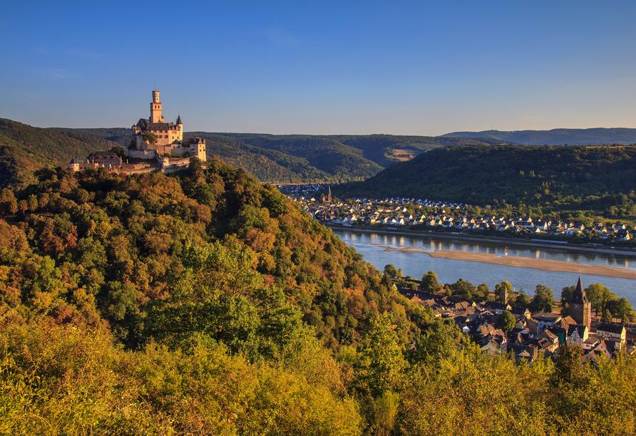 Rheinsteig, Sternwanderreise, Hotel Restaurant Colonius, St. Goarshausen, Marksburg Braubach