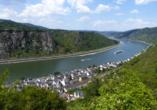 Rheinsteig, Sternwanderreise, Hotel Restaurant Colonius, St. Goarshausen, Blick auf Kestert