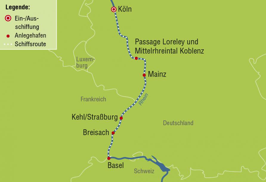 A-ROSA, Schweiz, Basel, Reiseroute