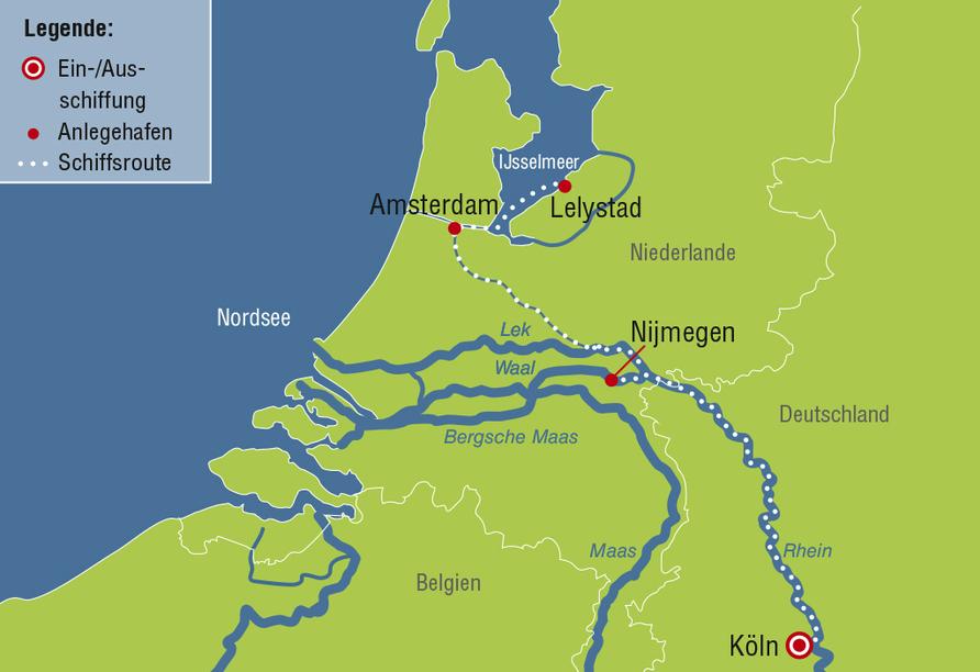 MS Rhein Symphonie, Reiseroute